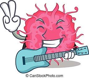 caricatura, talentoso, tocando, bactérias, guitarra, músico, desenho, pathogenic