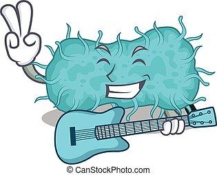 caricatura, talentoso, tocando, bactérias, guitarra, músico, desenho, prokaryote
