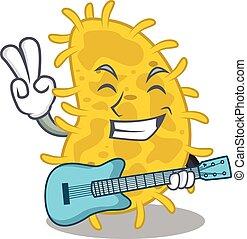 caricatura, talentoso, tocando, bactérias, guitarra, músico, desenho, spirilla