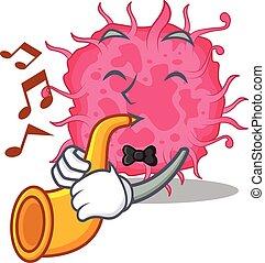 caricatura, talentoso, tocando, bactérias, músico, trompete, desenho, pathogenic