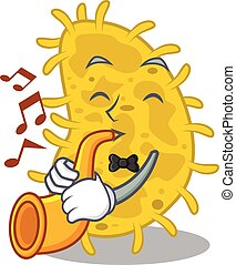 caricatura, talentoso, tocando, bactérias, músico, trompete, desenho, spirilla