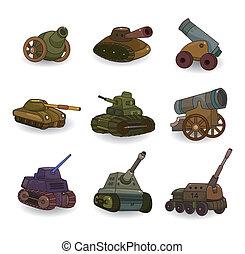 caricatura, tank/cannon, arma, jogo, ícone