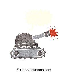 caricatura, tanque, com, borbulho fala