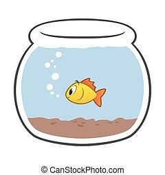 caricatura, tazón de fuente de los pescados