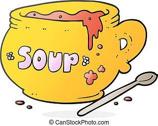 caricatura, tazón sopa