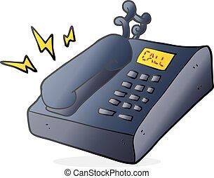 caricatura, telefone escritório