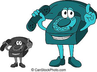 caricatura, telefone