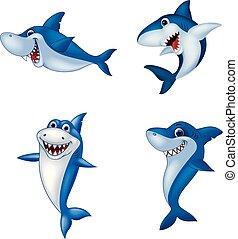 caricatura, tiburón, colección, conjunto