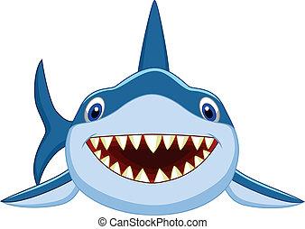 caricatura, tiburón, lindo