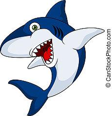 caricatura, tiburón, sonriente