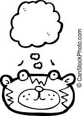 caricatura, tigre, cara