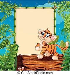 caricatura, tigre, en, hueco, registro, cerca, el, vacío, encuadrado, signboard