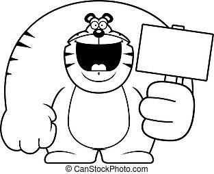 caricatura, tigre, señal