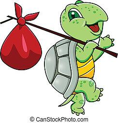 caricatura, tortuga