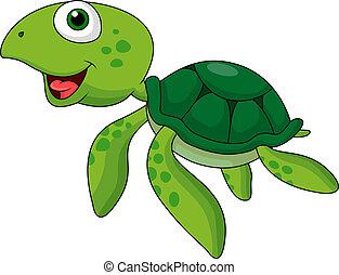 caricatura, tortuga marina, lindo