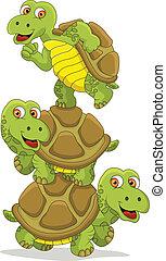 caricatura, tortuga, trabajo en equipo