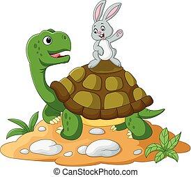 caricatura, tortuga, y, conejo