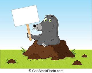 caricatura, toupeira