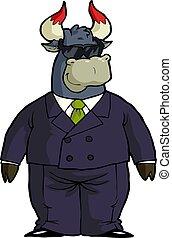 caricatura, touro, financeiro, sunglass