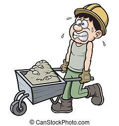 caricatura, trabajador