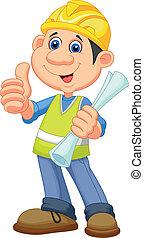 caricatura, trabajador, repairm, construcción