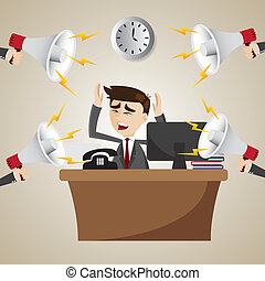 caricatura, trabajando, hombre de negocios, con, ruidoso,...
