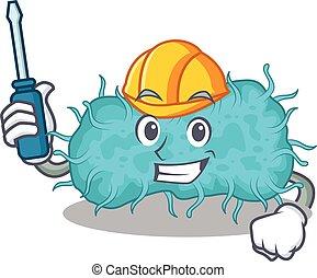 caricatura, trabalhado, automóvel, bactérias, personagem, prokaryote