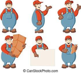 caricatura, trabalhador
