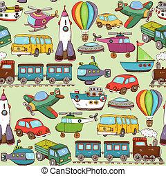 caricatura, transporte, padrão