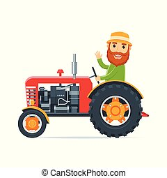 caricatura, trator, agricultor