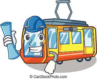 caricatura, trem, arquiteta, elétrico, isolado
