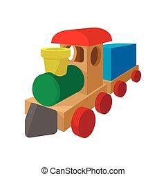 caricatura, trem, crianças, ícone