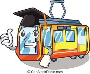 caricatura, trem, elétrico, graduação, isolado