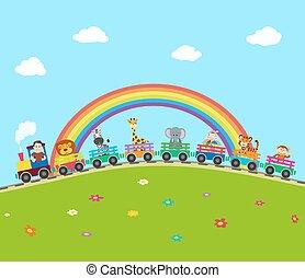 caricatura, trem ferrovia, com, animals., vetorial,...