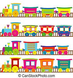 caricatura, trenes