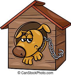 caricatura, triste, cão, ilustração, canil