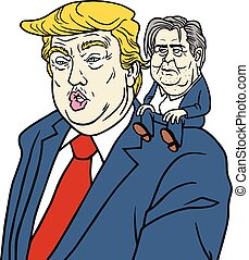 caricatura, triunfo, cartoon., steve, donald, vector, retrato, bannon