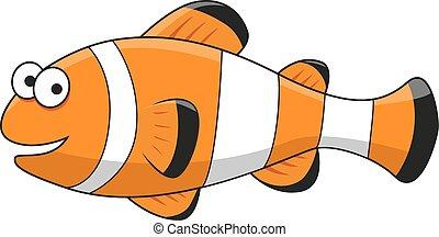 caricatura, tropical, pez payaso, carácter