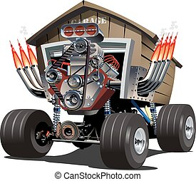 caricatura, truck., vector, garaje