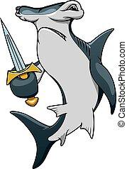 caricatura, tubarão hammerhead, espada, pirata