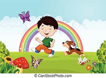caricatura, um, corrida menino, com, seu, animal estimação