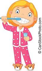 caricatura, um, menina jovem, escovar, dela, t