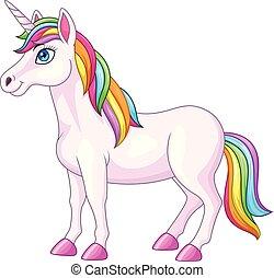 caricatura, unicórnio, arco íris, cavalo