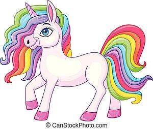 caricatura, unicornio, arco irirs, caballo
