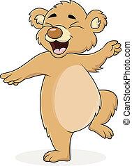 caricatura, urso, dançar