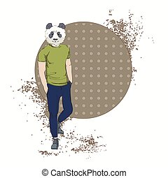 caricatura, urso panda, hipster, desgaste, moda, roupas,...