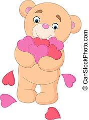 caricatura, urso teddy, abraçando, grupo, coração