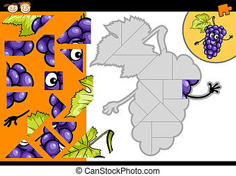 caricatura, uvas, rompecabezas, juego