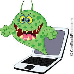 caricatura, vírus, ligado, laptop