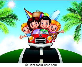 caricatura, vacaciones de familia